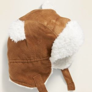 Baby Faux-suede Sherpa-trim trapper hat